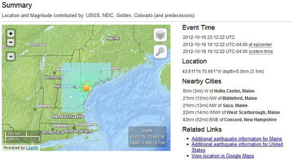 earthquake near Hollis Center, Maine, 16 October 2012