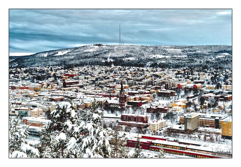 Vy över Sundsvall, bilden tagen som HDR.