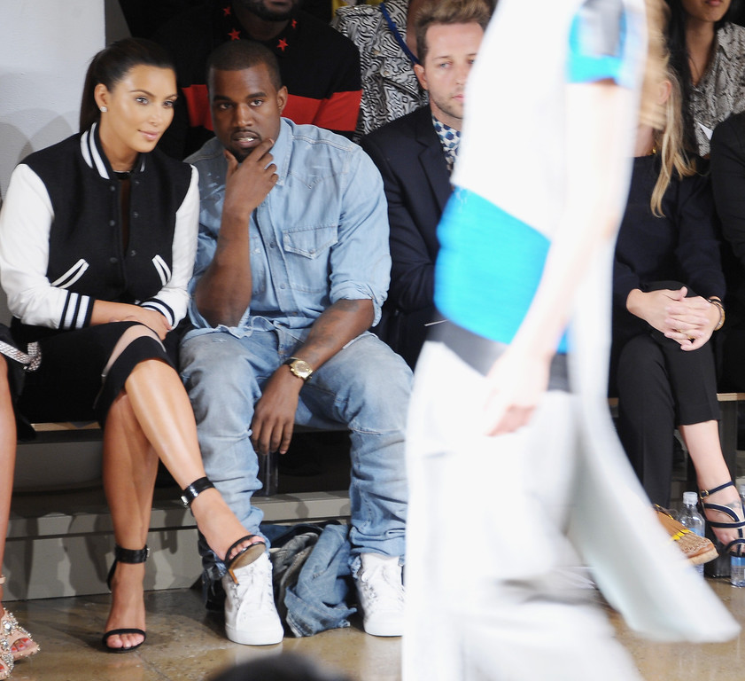 . NEW YORK, NY - SEPTEMBER 12:  TV Personality Kim Kardashian and Rapper Kanye West attend Louise Goldin Spring 2013 at Milk Studios on September 12, 2012 in New York City.  (Photo by Michael Loccisano/Getty Images)
