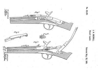 32,451 - Improvement in Breech-Loading Firearms, assigned to the Merrill Patent Firearms Mfg Co (May 28, 1861)