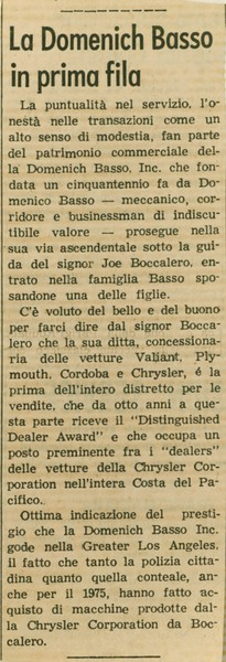 1975, Italian Newspaper Blurb