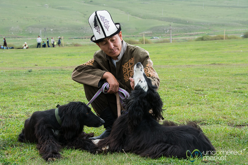 Taigan Dogs and Their Kyrgyz Master - World Nomad Games, Kyrgyzstan
