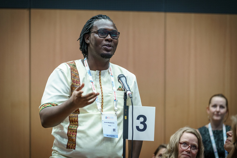 22nd International AIDS Conference (AIDS 2018) Amsterdam, Netherlands.   Copyright: Matthijs Immink/IAS  Integration in Practice: First-Hand Accounts from Clients and Health Care Providers   Photo shows (panel left to right):  Arnold Mwankalindo