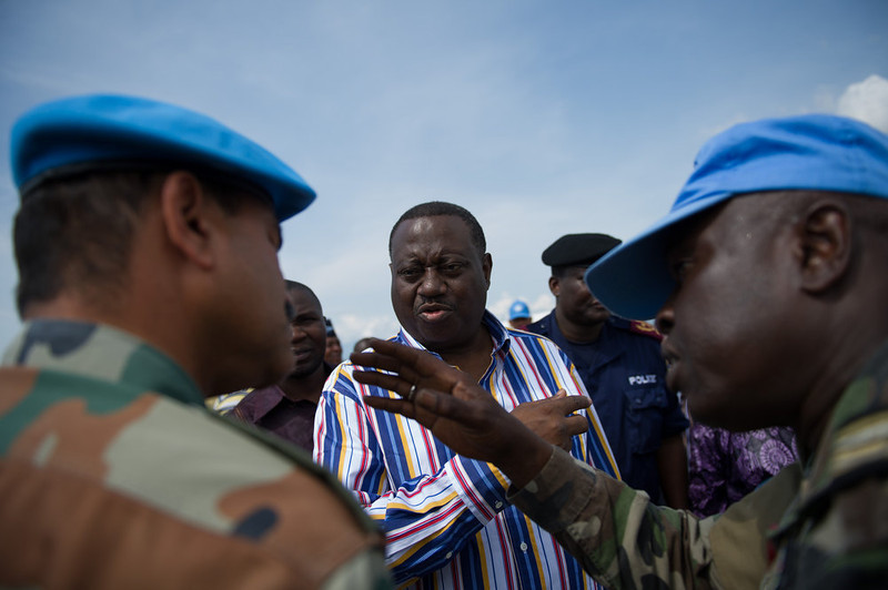 ". The Democratic Republic of the Congo\'s Interior Minister, Richard Muyej Mangez (C), talks via a translator (R) with Commander Bainsi Ponnappa (L), the head of the United Nations mission in North Kivu, at Goma\'s airport in the east of DR Congo on December 4, 2012. Minister Muyej told Commander Ponnappa ""you have the utmost admiration of the government\"" after the United Nations secured control of the airport whilst M23 rebels overran the city two weeks ago. PHIL MOORE/AFP/Getty Images"
