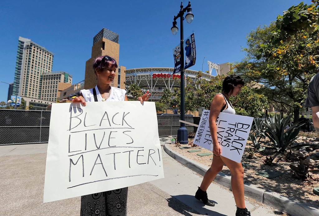 . Black Lives Matter protesters gather outside Petco Park prior to the All-Star Futures baseball game, Sunday, July 10, 2016, in San Diego. (AP Photo/Lenny Ignelzi)