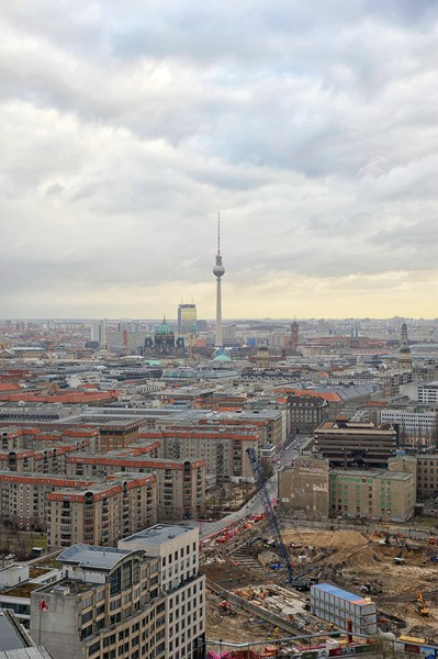 View from the Kollhof Building, Potsdamer Platz towards the old East Berlin, including the Television Tower and the Berliner Dom.