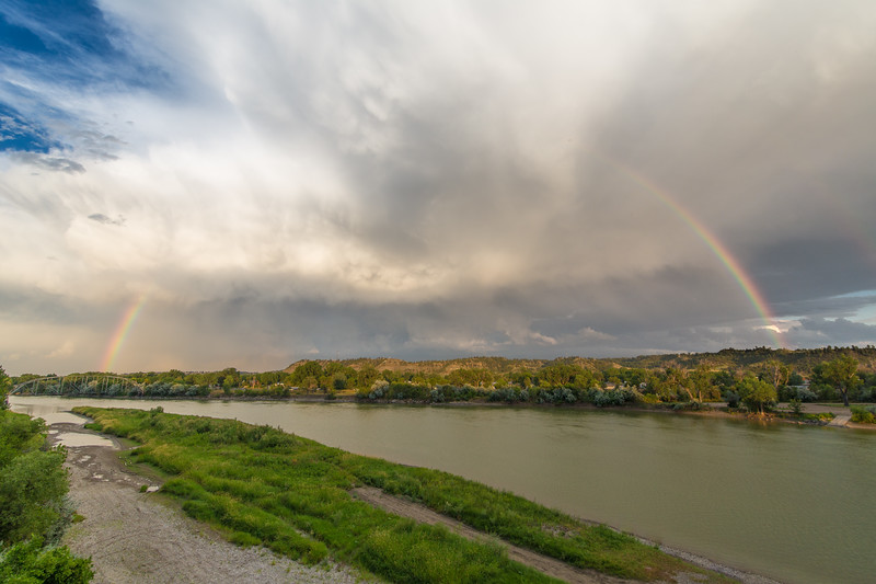 Yellowstone River with a rainbow over Forsyth