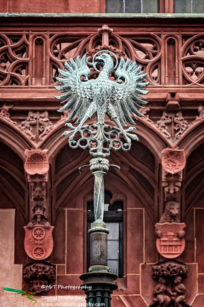 Imperial eagle symbol Romerberg Frankfurt Germany