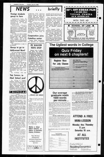 Summer Trojan, Vol. 60, No. 8, July 15, 1969