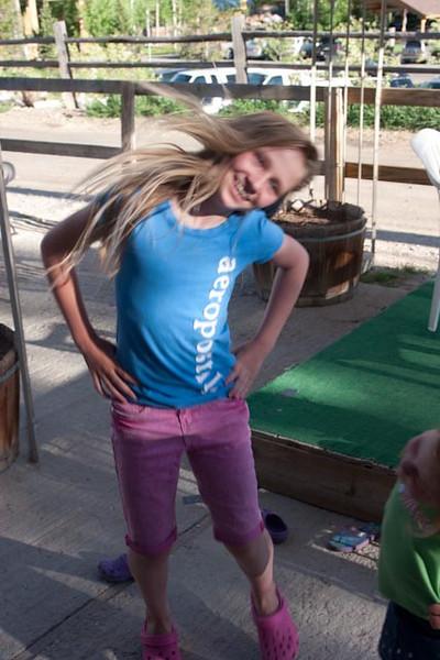 Dancing queen Evie.