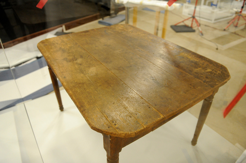 """. The table used to sign the The Treaty of Cahuenga on display at the \""""Becoming Los Angeles\"""" exhibition set to open at the Natural History Museum of Los Angeles County in July. (Michael Owen Baker/Staff Photographer)"""