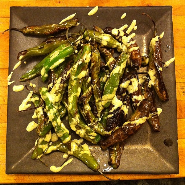On the table tonite: shishito peppers #jux