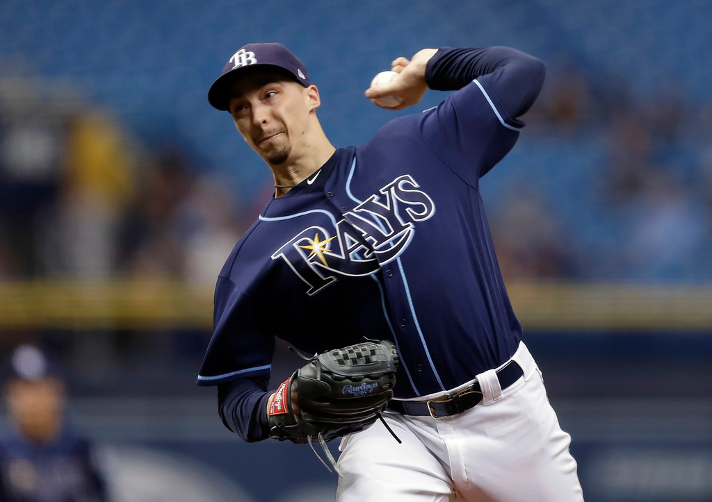 . Tampa Bay Rays\' Blake Snell pitches to the Cleveland Indians during the first inning of a baseball game Wednesday, Sept. 12, 2018, in St. Petersburg, Fla. (AP Photo/Chris O\'Meara)