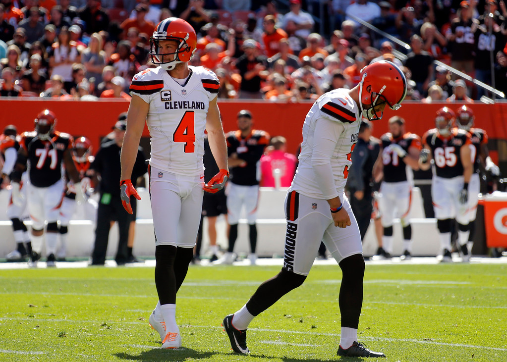 . Cleveland Browns kicker Zane Gonzalez (5) and Britton Colquitt (4) reacts after a missed field goal in the first half of an NFL football game against the Cincinnati Bengals, Sunday, Oct. 1, 2017, in Cleveland. (AP Photo/Ron Schwane)