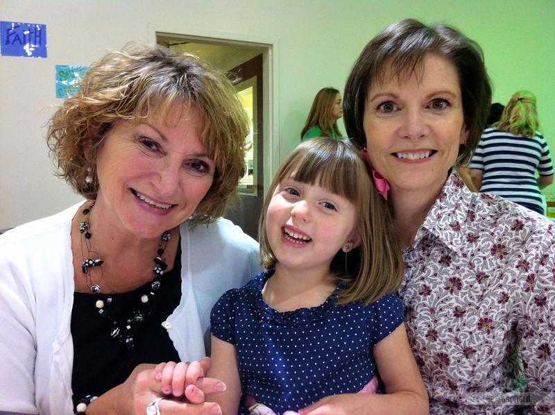 Lizzie with her Grandmas