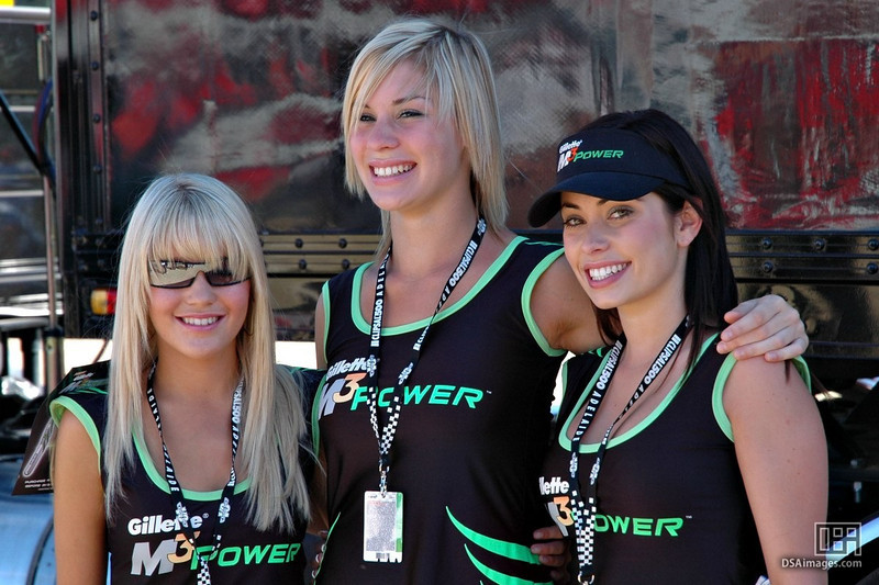 """The Gillette Girls. """"When you think shavers, think girls at car races."""""""