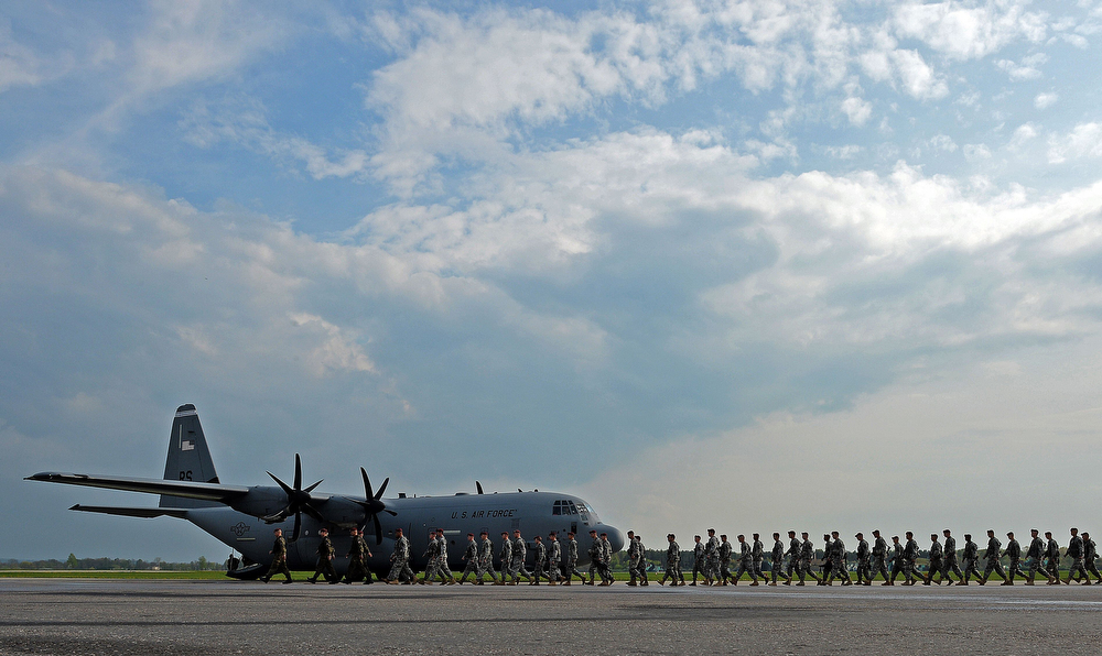 . The first American troops arrive at the airport in Swidwin, Poland on April 23, 2014, after Washington said it was sending a force of 600 to the Baltic states as the crisis over Ukraine deepens. (JANEK SKARZYNSKI/AFP/Getty Images)