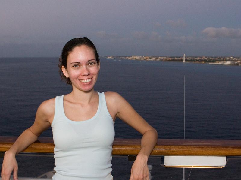 Tina at sunset as we left Cozumel