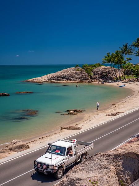 Driving along Grays Bay, Bowen