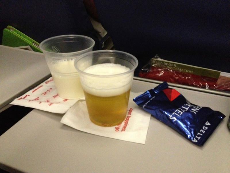 Beer & Milk on flight to Venice