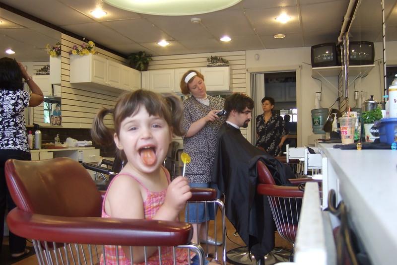 Guen said she was really hungry for a lollipop, so Matthew got a haircut.