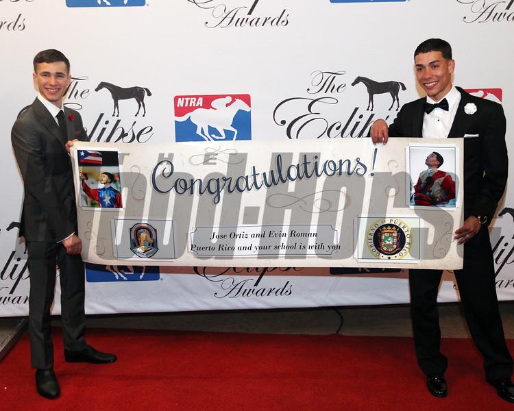 Evin Roman accepts the 2017 Eclipse Award for Apprentice Jockey 2018 , Gulfstream Park