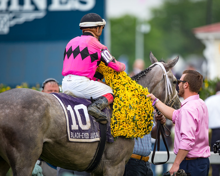 Actress (Tapit) wins The Black-Eyed Susan (G2) at Pimlico on 5.19.2017. Nik Juarez up, Jason Servis trainer, Gary and Mary West owners.