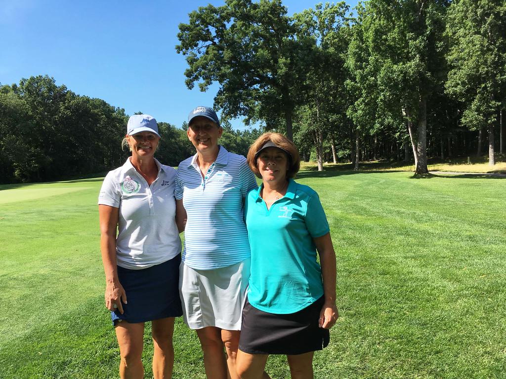 . From left, golfers Cheryl Popp of Westford, and Kristin Rydzewski and Linda Hill, both of Chelmsford