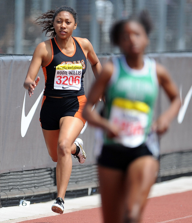 . South Pasadena\'s Kamia Rodil Willis competes in the 400 meters race in the during the Arcadia Invitational at Arcadia High School on Saturday, April 6, 2013 in Arcadia, Calif.  (Keith Birmingham Pasadena Star-News)