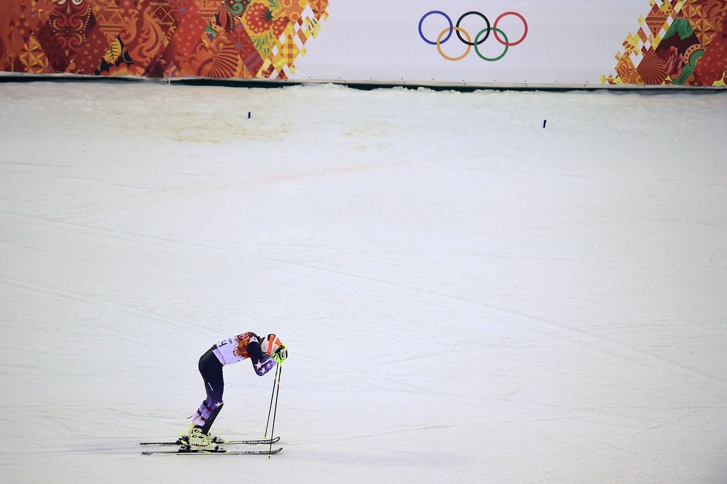 . US skier Bode Miller reacts after the Men\'s Alpine Skiing Super Combined Slalom at the Rosa Khutor Alpine Center during the Sochi Winter Olympics on February 14, 2014. OLIVIER MORIN/AFP/Getty Images