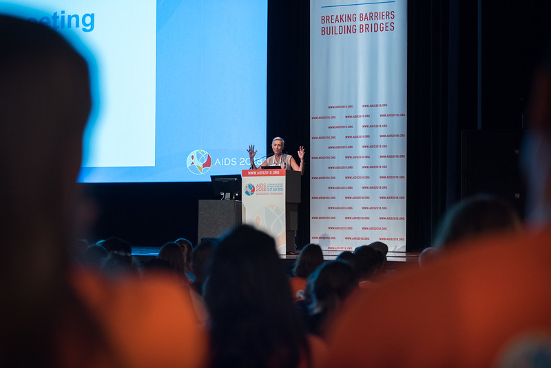 22nd International AIDS Conference (AIDS 2018) Amsterdam, Netherlands   Copyright: Marcus Rose/IAS  Photo shows: Volunteers training and orientation. Speaker: Linda-Gail Bekker, President of IAS.