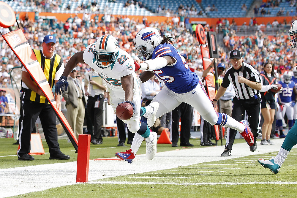 . Reggie Bush #22 of the Miami Dolphins scores a touchdown while being defended by Kelvin Sheppard #55 of the Buffalo Bills on December 23, 2012 at Sun Life Stadium in Miami Gardens, Florida. (Photo by Joel Auerbach/Getty Images)