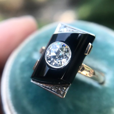 .74ct Art Deco Diamond and Onyx Ring