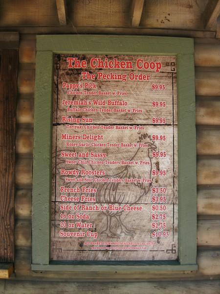 Chicken Coop menu sign.