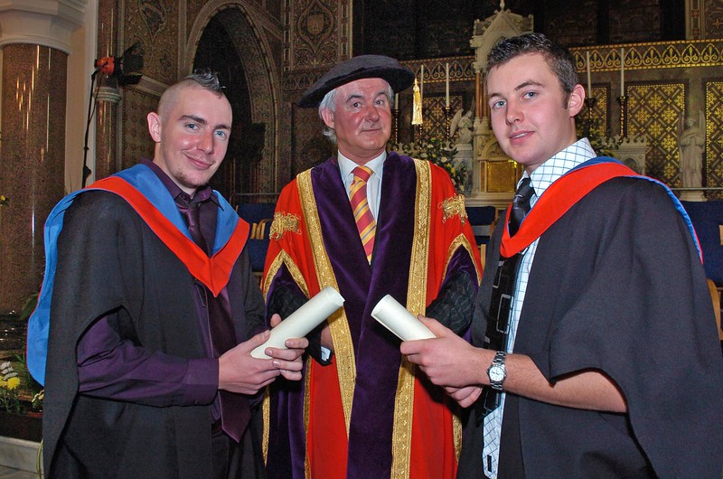 Provision 251006 Peter Cowley (Dublin) and Leonard Fennell (Carlow) pictured with Professor Kieran Byrne (Director of WIT) graduated with Higher Certificates in Science in Agriculture from WIT yesterday (Tuesday). PIC Bernie Keating/Provision