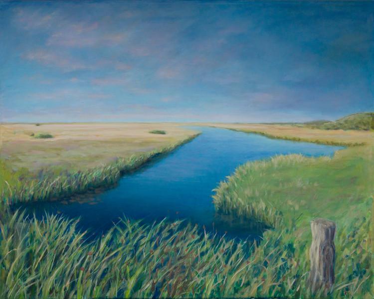 SOLGT! - Læsø - strandenge sydvest - 100x80cm mixed media on canvas