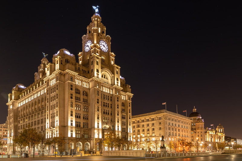 The Three Graces of Liverpool at Night