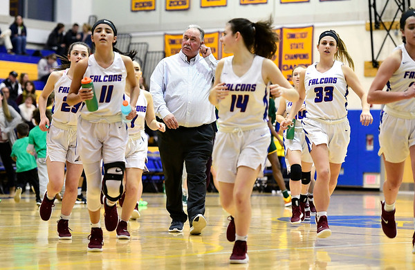 3/8/2019 Mike Orazzi   Staff St. Paul Catholic High School Joe Mone during the Class S Semifinal girls basketball game with Trinity Catholic at Newtown High School Friday night in Newtown.