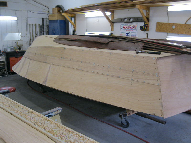 Starboard rear view of planks fit.