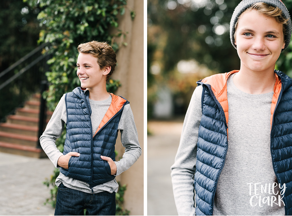 Puffer vest. Playful teen boy model headshot portfolio commercial lifestyle photoshoot by Tenley Clark Photography. Pleasanton, CA.