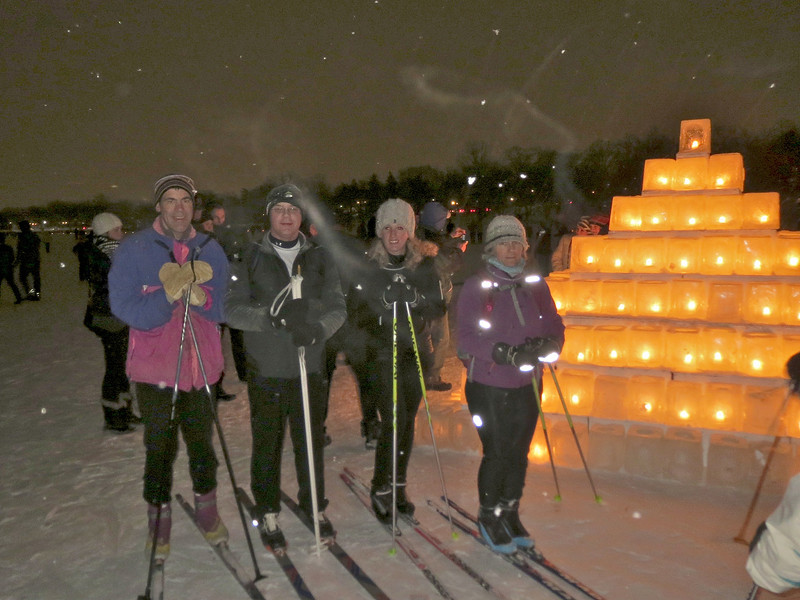 Chris, Dan, Jenna, Kaia, out on Lake of the Isles for the Luminary Loppet.