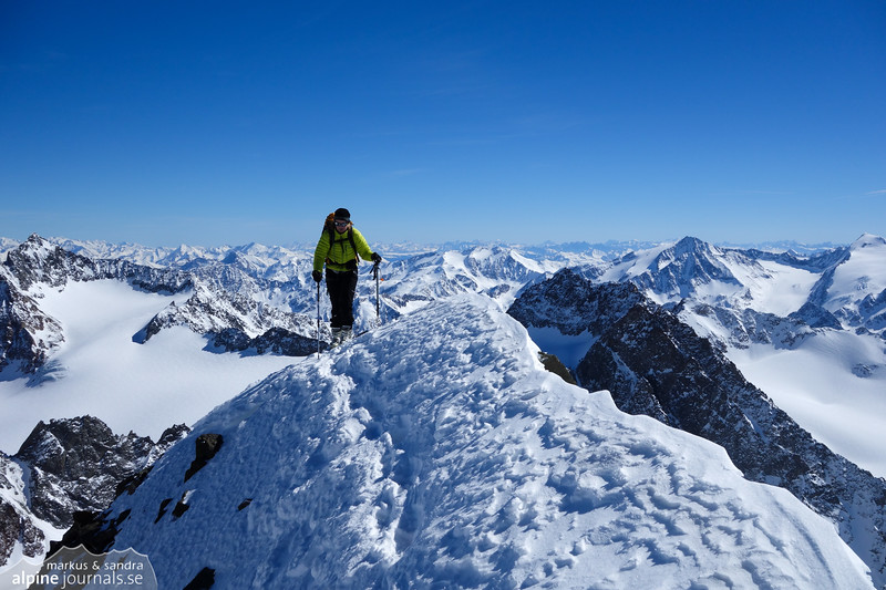 As we approach the final ridge of Schrankogel, all the exhaustion from many altitude meters dissipate. The tour is an absolute gem, and the weather is perfect.
