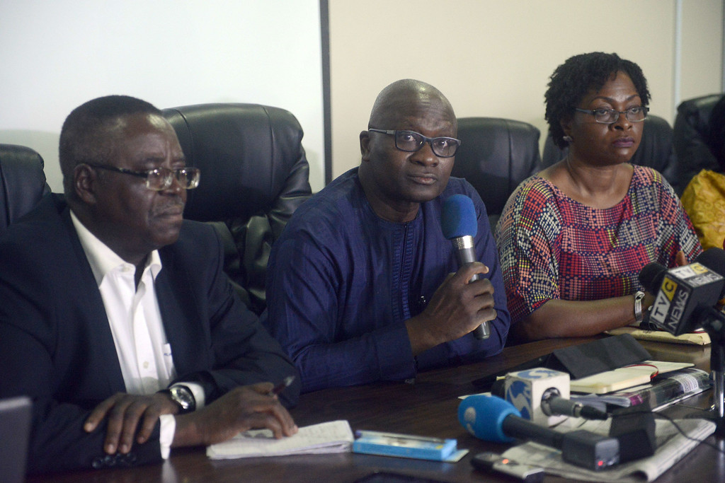 . Lagos health commissioner Jide Idris (C) flanked by director of Nigerian Centre for Disease Control, Professor Abdulsalam Nasidi (L) and special adviser to Lagos State governor Yewande Adeshina, speaks about Ebola outbreak during a briefing in Lagos on July 28, 2014.  Nigeria was on alert against the possible spread of Ebola on Saturday, a day after the first confirmed death from the virus in Lagos, Africa\'s biggest city and the country\'s financial capital. The health ministry said Friday that a 40-year-old Liberian man died at a private hospital in Lagos from the disease, which has now killed more than 650 people in four west African countries since January -- the deadliest outbreak in history.        (PIUS UTOMI EKPEI/AFP/Getty Images)