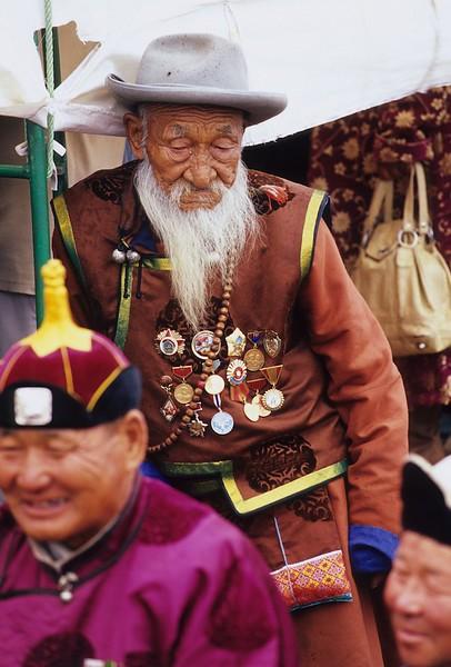 Decorated old man . Naadam. Khor Khorin. mongolia