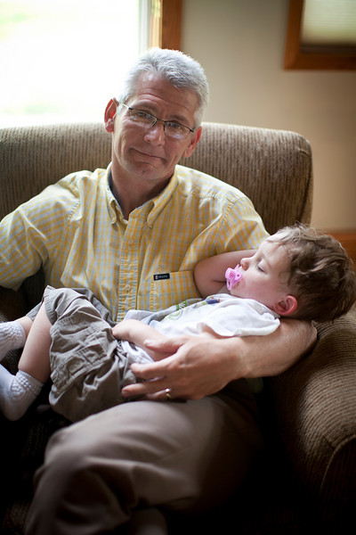 Dad and Hunter during a graduation party for Jill on May 7, 2011.  (Jay Grabiec)