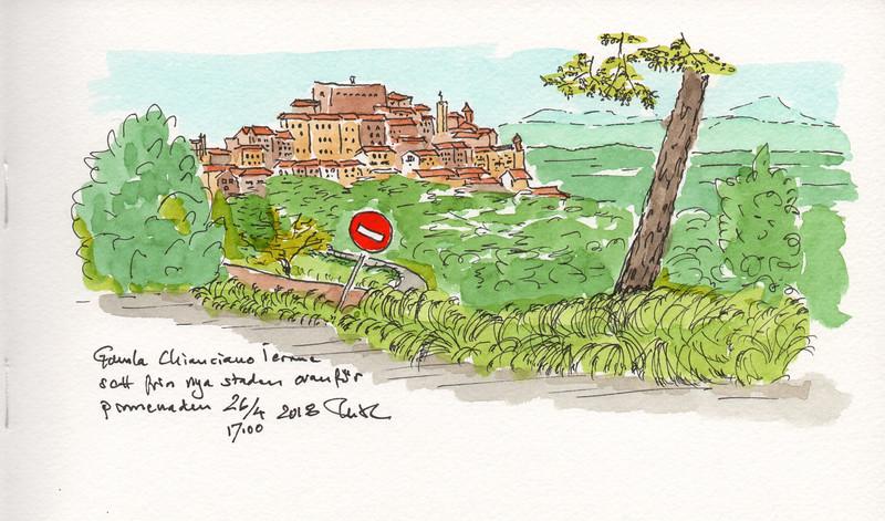 Chianciano Terme; old town from Vialle della Libertá just above the promenade