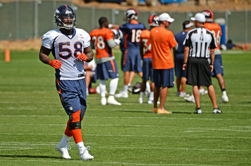 . Von Miller practices at Dove Valley in Centennial, August 21, 2014. The Denver Broncos take on the Houston Texans, in Denver on Saturday, in their third pre-season game. (Photo by RJ Sangosti/The Denver Post)