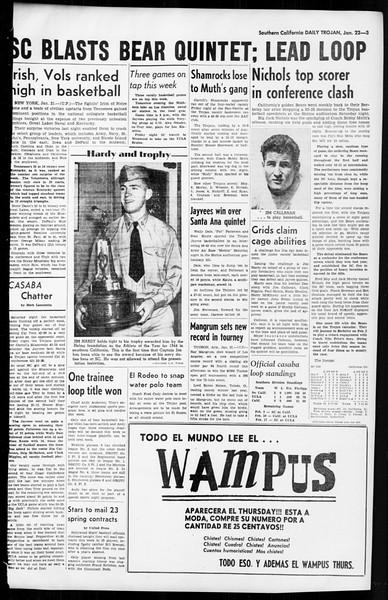 Daily Trojan, Vol. 36, No. 51, January 22, 1945