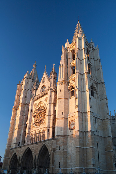 Western facade of the Gothic Cathedral, town of Leon, autonomous community of Castilla y Leon, northern Spain