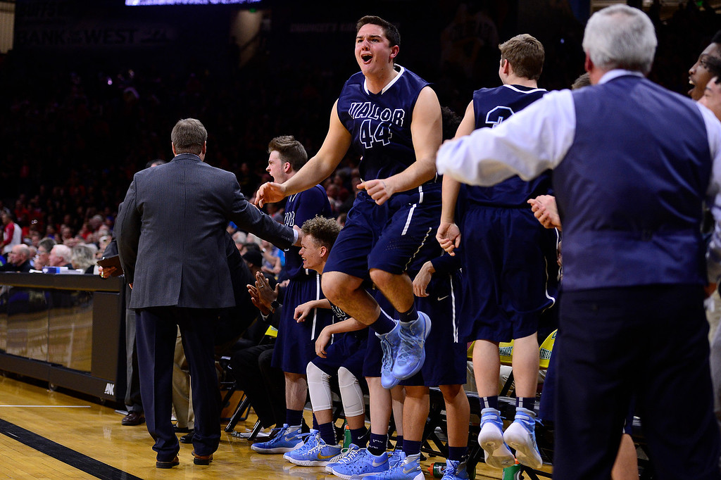 . Booker Schelhaas (44) of Valor Christian jumps at the final seconds of the game against Longmont during the fourth quarter at the Coors Events Center on March 11, 2016 in Boulder, Colorado. Valor Christian defeated Longmont 58-53 to advance to the 4A finals of Colorado state basketball tournament.  (Photo by Brent Lewis/The Denver Post)